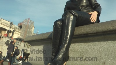 Jenny-putting-on-girls-leather-boots-in-leather-pants